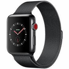 فروش اقساطی ساعت هوشمند اپل واچ سری 3 سلولار مدل42mm Space Black Stainless Steel Case with Space Black Milanese Loop
