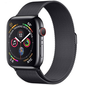 فروش اقساطی ساعت هوشمند اپل واچ سری 4 سلولار مدل 44mm Space Black Stainless Steel Case with Space Black Milanese Loop