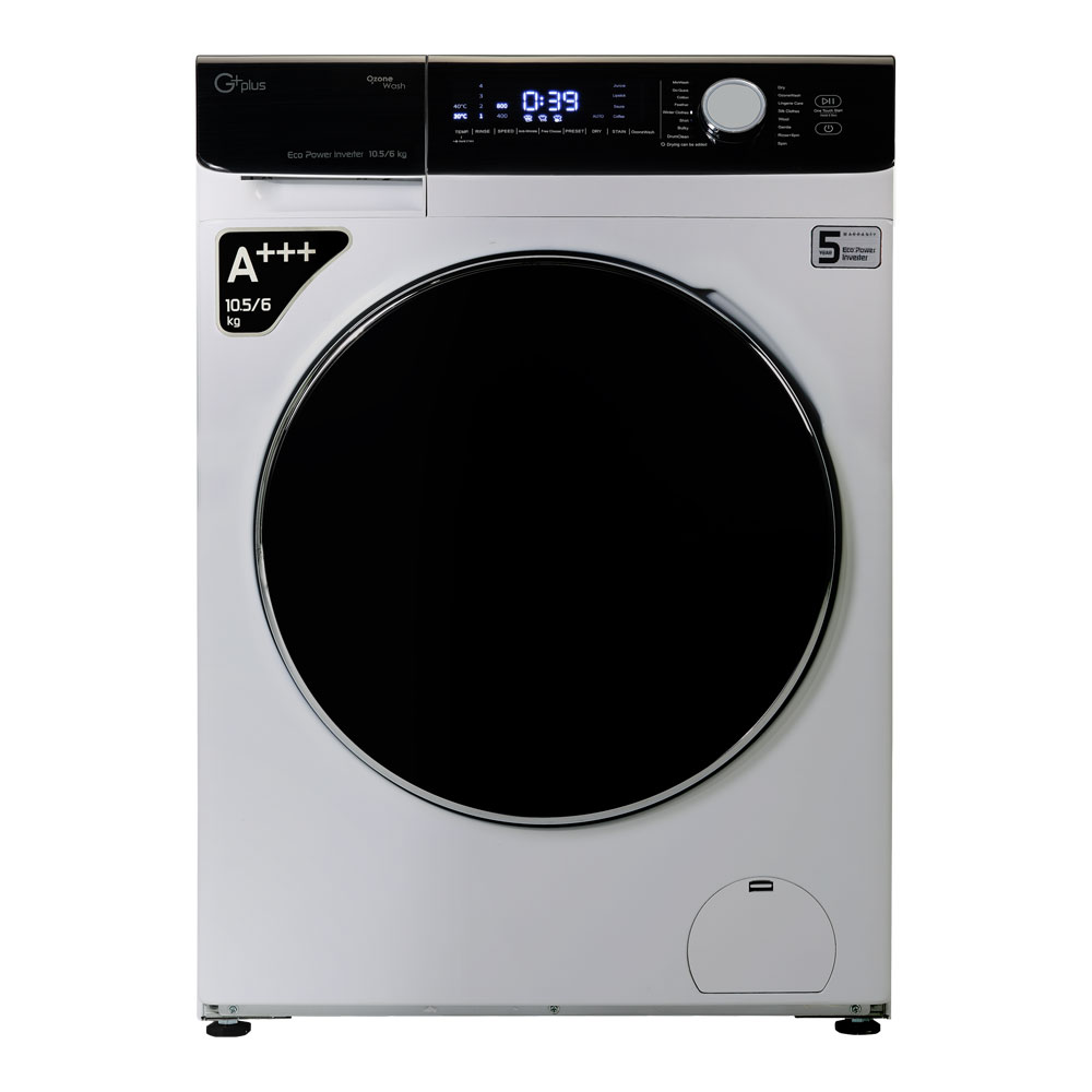فروش نقدی و اقساطی ماشین لباسشویی جی پلاس مدل GWM-KD1048S ظرفیت 10.5 کیلوگرم