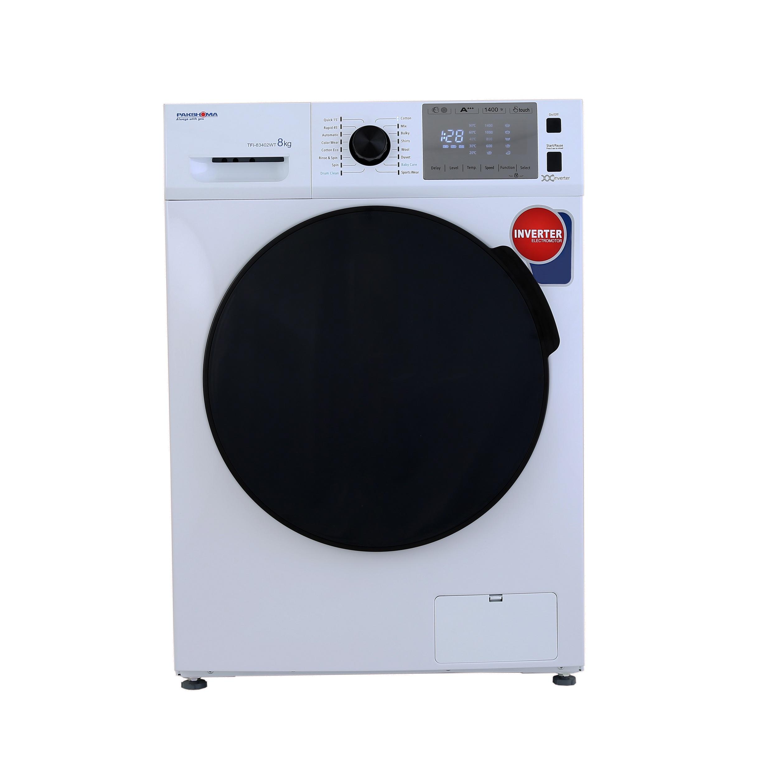 فروش نقدی و اقساطی ماشین لباسشویی پاکشوما مدل TFI 83402 ظرفیت 8 کیلوگرم