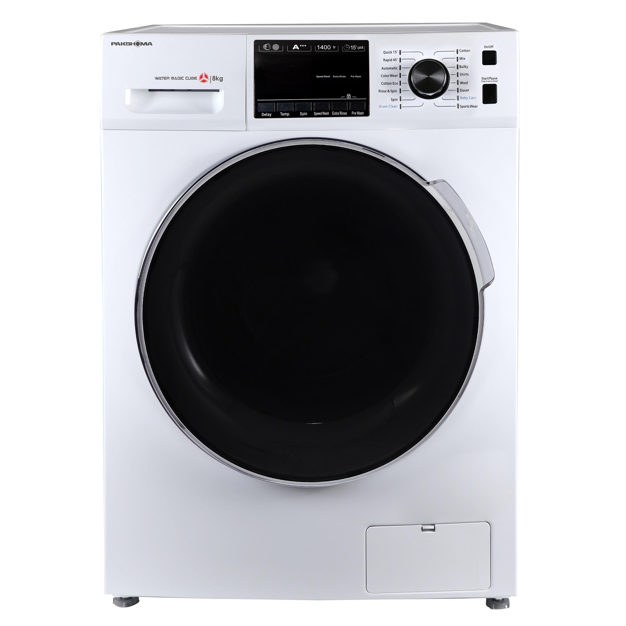 فروش نقدی و اقساطی ماشین لباسشویی پاکشوما مدل TFU-84407 ظرفیت 8 کیلوگرم