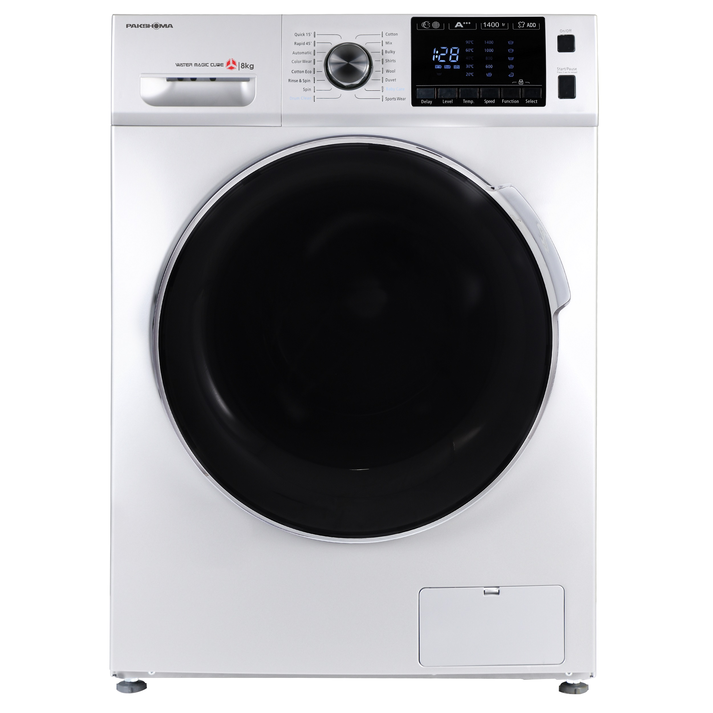 فروش نقدی و اقساطی ماشین لباسشویی پاکشوما مدل TFU-84406 ظرفیت 8 کیلوگرم