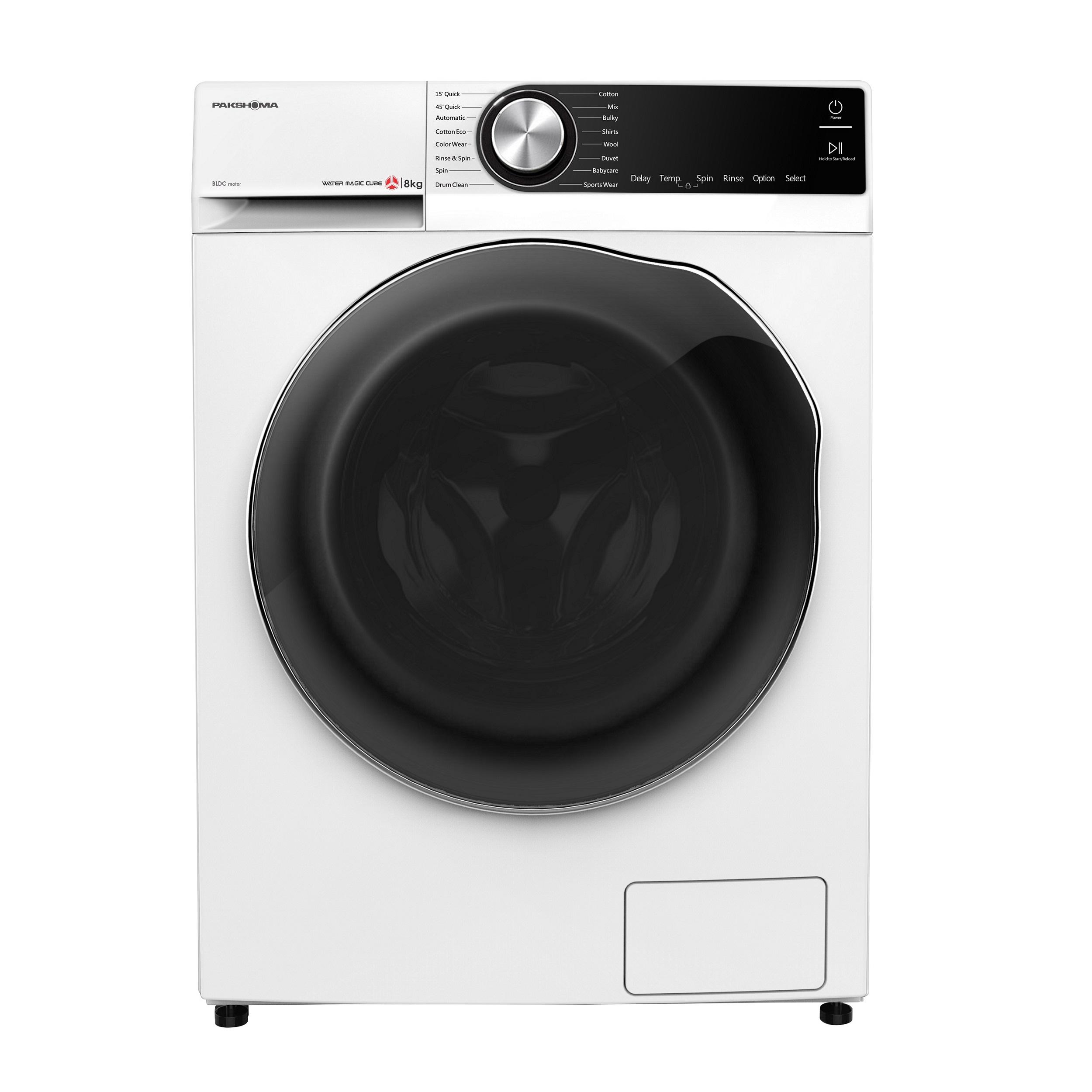 فروش نقدی و اقساطی ماشین لباسشویی پاکشوما مدل TFB-85401WT ظرفیت 8 کیلوگرم