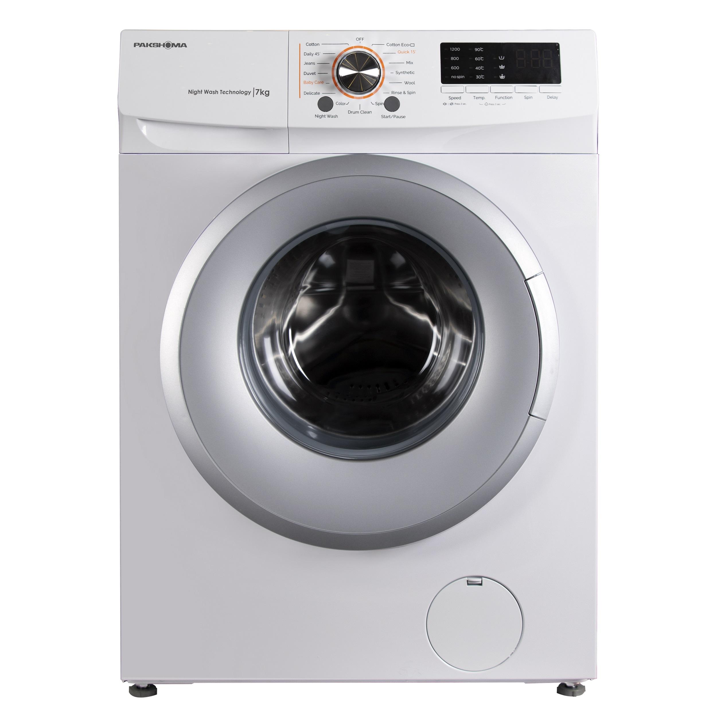 فروش نقدی و اقساطی ماشین لباسشویی پاکشوما مدل TFU-73200WS ظرفیت 7 کیلوگرم